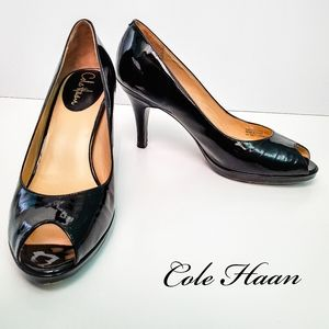 Black Cole Haan Nike Air Patent Peep Toe Pumps